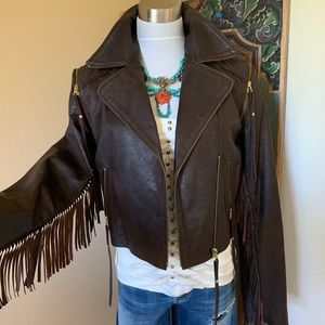 Western, boho, fringe leather jacket Sara Berman